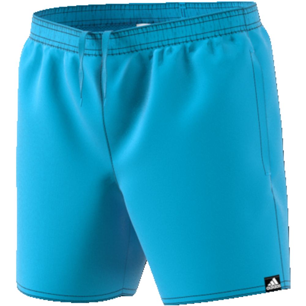 solid short short-length youth bright cyan